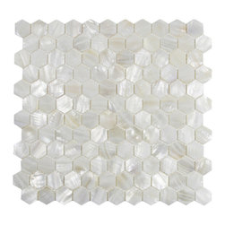 CNK Tile - White Hexagon Pearl Shell Tile - Our beautiful Mother of Pearl  tile in iridescence white and natural tones is on a mesh backing for  easy installations in many applications.