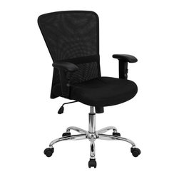 Flash Furniture - Black Mesh Office Computer Chair w Chrome Bas - Open air mesh back. Passive lumbar support band on curved back for increased ergonomic comfort. Height adjustable nylon T-arms. Soft polyurethane padded arm rests. Thickly padded, mesh over foam seat. Spring tilt control mechanism. Pneumatic seat height adjustment. Tilt tension control. Chrome finished gas lift, base. Dual wheel nylon caster. Warranty: 2 years limited. Assembly required. Back: 20.5 in. W x 20.5 in. H. Seat: 19 in. W x 19.25 in. D. Seat Height: 18.25 - 21.75 in. H. Arm Height from Floor: 25 - 31.75 in.. Arm Height from Seat: 6.75 - 9.5 in.. Overall: 28 in. W x 24 in. D x 36.5 - 40 in. H (33 lbs.)