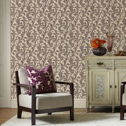Graham & Brown - Capulet Wallpaper - A beautiful and classical heavyweight paper, with a timeless scroll wallpaper design, which brings a touch of drama to any wall. Highlights of gold and silver help to create a 3D effect and the embossed background is the perfect complimentary plain. This charcoal colourway is a real star, apply to just one wall for a dramatic touch of opulence or be more daring and use on all four and create a real feeling of grandeur.