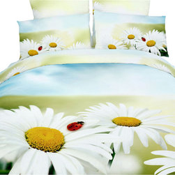Dolce Mela - Modern Bedding Floral Duvet Cover Set Dolce Mela DM418, Twin - Bring happiness and youth in your bedroom with the beauty of the Felicita bedding design.  The vivid white daisy love-me-love-me-not flowers and the ladybug on them against the mellow earth and sky background will astonish your room's appearance.