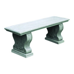 """Campana - Straight Woodland Ferns Bench - Straight Woodland Ferns Bench 45"""" Length 14"""" Width 18.5"""" Height 315Lb Material composition is cast stone. Constructed for all climates & temperatures."""