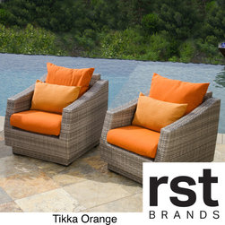 RST Brands - Cannes Club Patio Chairs with Cushions (Set of 2) - Share an intimate conversation with a friend in our extra-cozy club chairs. The Cannes Collection is designed with comfort in mind,making these patio chairs a perfect addition to an existing set,or as a solution for a smaller outdoor space.