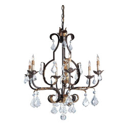 Currey & Company - Tuscan Large Chandelier - Lovely iron work and a rich Venetian finish accented with hand applied Gold Leaf are the perfect combination. Swarovski Crystals add their fire and brilliance to the elegant appearance of this striking chandelier..