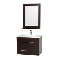 Wyndham - Centra Vanity 30in. in Espresso w/ White Stone Top & Square sink - Simplicity and elegance combine in the perfect lines of the Centra vanity by the Wyndham Collection. If cutting-edge contemporary design is your style then the Centra vanity is for you - modern, chic and built to last a lifetime. Available with green glass, white carrera marble or pure white man-made stone counters, and featuring soft close door hinges and drawer glides, you'll never hear a noisy door again! The Centra comes with porcelain, marble or granite sinks and matching mirrors. Meticulously finished with brushed chrome hardware, the attention to detail on this beautiful vanity is second to none.