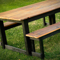 Black Tar Tobacco Table - Primitive country design at its finest. This black beauty is dripping with character and some rich family history. These reclaimed pine table tops were salvaged locally from a 100+ year old tobacco barn. Photo: Jen W. Photography (www.facebook.com/JenWPhotography)