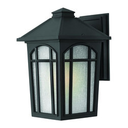 Hinkley Lighting - 1984BK Cedar Hill Outdoor Wall Light, Black, White Linen Glass - Transitional Outdoor Wall Light in Black with White Linen glass from the Cedar Hill Collection by Hinkley Lighting.