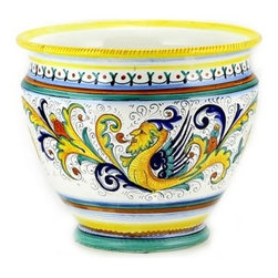 Artistica - Hand Made in Italy - RAFFAELLESCO: Luxury Cachepot/Planter LG - RAFFAELLESCO Collection: Among the most popular and enduring Italian majolica patterns, the classic Raffaellesco traces its origin to 16th century, and the graceful arabesques of Raphael's famous frescoes.