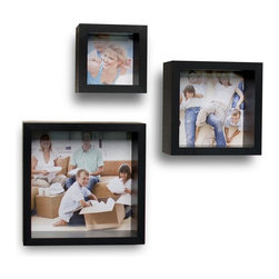 Danya B - Photo Frame Wall Cube Shelves - Set of 3 - Fits 3 photographs sizes 7.75 in. x7.75 in. ; 5.75 in. x5.75 in. , and 3.75 in. x 3.75 in.. Easy to install with no visible connectors or hanging hardware. All hardware included. Overall Dimensions: 9 in. L x 3.75 in. W x 9 in. H (4.8 lbs)Add a personal touch to your decor with this set of 3 decorative cube wall shelves with built in picture frames. This set allows you to display both memorable pictures and treasured memories in one place. You can display these deep photo frames either on a table or shelf, or mount them on the wall and use your imagination to create a customized wall space. Easy to install with no visible connectors or hanging hardware.