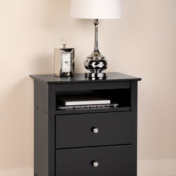 Prepac - Broadway Black 2-drawer & Open Cubbie Nightstand - There's storage, and then there's efficient storage. The Broadway Tall 2 Drawer Nightstand brings you the latter.