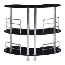 Global Furniture - Global Furniture USA MBT02 Half Moon Black Glass Bar Table with Chrome Legs - This stylish and contemporary bar table encompasses a cool feel ideal for entertaining your guests. This piece features a top surface ideal for making cocktails, and two glass shelves that are perfect to stock all of your bar essentials. The polished glossy black surfaces and chrome metal accents complete the look of this unit, making it a must-have item.