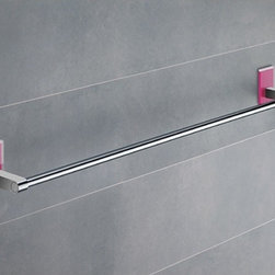 Gedy - 24 Inch Pink Mounting Polished Chrome Towel Bar - Modern, simple 24 inch polished chrome towel bar made of chromed brass with mounting made out of thermoplastic resins. 24 inch towel holder made of chromed brass. Fuchsia mounting made of thermoplastic resins. From the Gedy Maine collection.