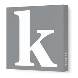 """Avalisa - Letter - Lower Case 'k' Stretched Wall Art, 12"""" x 12"""", Gray - Spell it out loud. These lowercase letters on stretched canvas would look wonderful in a nursery touting your little one's name, but don't stop there; they could work most anywhere in the home you'd like to add some playful text to the walls. Mix and match colors for a truly fun feel or stick to one color for a more uniform look."""