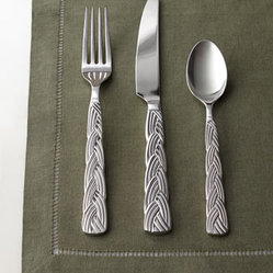 "Horchow - 20-Piece ""Heidi"" Flatware Service - Flatware with twisted-braid handles is lovely to look at and delightful to hold. Made of 18/8 stainless steel. Mirror finish. Never needs polishing. 20-piece service includes four five-piece place settings. Dishwasher safe. Imported."