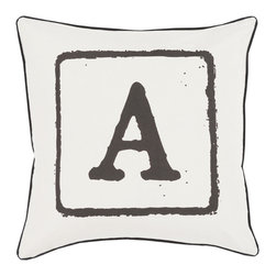 """Surya - Surya BKB-026 Pillow, 18"""" x 18"""", Down Feather Filler - Add a personal stamp to your space with the inclusion of this utterly perfect pillow. Hand made in India of 100% cotton, the boldly printed initial in smooth coloring effortlessly permits for a private touch while simultaneously embodying divine design from room to room within any home decor."""