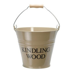 Clay Enamel Kindling Wood Metal Bucket - This kindling pail has a retro feel to it and is a fun way to store bits and pieces you want to save for starting fires. It would look great sitting by the fireplace.
