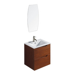 VIGO Industries - VIGO 24 -inch Suzetta single Bathroom Vanity with Mirror - The VIGO Suzetta is a luxurious wall mounted art deco inspired style vanity with 2 large drawers under the sink both with soft closing hardware.