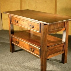 Rustic European Console Table Cherry Finish - Made by http://www.ecustomfinishes.com