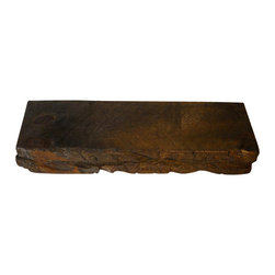 "Punky Hill Distressed Decor - Distressed Wooden Shelf 24"" Long With Hand Hewn Detail & Bourbon Pecan Finish - Punky Hill shelves are full of age and character with a chiseled hand hewn face.  This 24"" size is 6"" wide and 3"" thick.  New for 2014 is our rich bourbon pecan finish.  Easy to install as a floating shelf with our invisible shelf hangers.  This shelf will require 2 hangers."