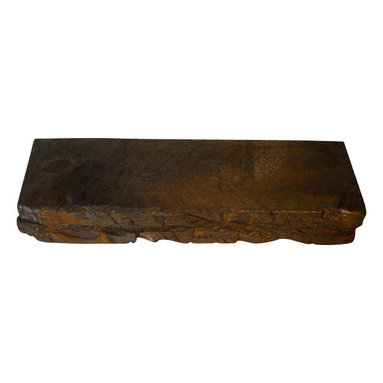 """Punky Hill Distressed Decor - Distressed Wooden Shelf 24"""" Long With Hand Hewn Detail & Bourbon Pecan Finish - Punky Hill shelves are full of age and character with a chiseled hand hewn face.  This 24"""" size is 6"""" wide and 3"""" thick.  New for 2014 is our rich bourbon pecan finish.  Easy to install as a floating shelf with our invisible shelf hangers.  This shelf will require 2 hangers."""
