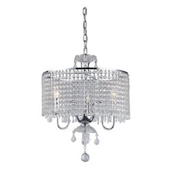 Warehouse of Tiffany - Crystal Beaded Pendant Lamp - Add some elegance to your home decor with this Crystal Beaded Pendant Lamp. The pendant lamp has a sparkling chrome finish and a generous amount of crystal beads. Setting: IndoorFixture finish: ChromeNumber of lights: Three (3)Requires three (3) 40-watt bulb (not included)Shade: 8.5 inches highDimensions: 16 inches high x 17 inches in diameterIncludes 40 inch chainMaterials: Metal and crystalThis fixture does need to be hard wired. Professional installation is recommended.CSA Listed, ETL Listed, UL Listed