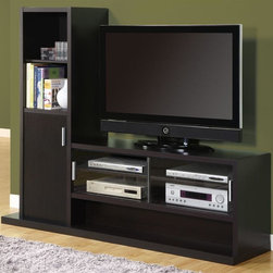 Monarch Specialties - 70.75 in. Entertainment Center - Five spacious lower shelves. Perfect for electronics components. Structure allows for large center television opening. Left side contains two shelves and cabinet. Great for displaying picture frames, DVDs and stowing away desired objects. Made from hollow core. Cappuccino finish. Unit for the television: 48 in. L x 35.5 in. H. 70.75 in. W x 17.75 in. D x 59 in. H (145 lbs.)This contemporary wall unit will add style and functionality to any living room with its sleek straight lines and deep cappuccino finish for a warm and inviting look.