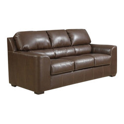 """AC Pacific - Andrew brown bonded leather upholstered queen pull out sleeper sofa - Andrew brown bonded leather upholstered queen pull out sleeper sofa.  sofa measures 86"""" x 39"""" x 39"""" H.  Some assembly may be required."""