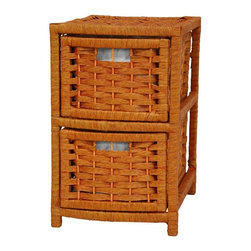 "Oriental Furniture - 17"" Natural Fiber Occasional Chest of Drawers - Honey - A simple, small, lightweight two drawer chest. Kiln dried wood, with durable, spun plant fiber cord, woven to create an attractive, sturdy rattan style design. The practical narrow shape and small height is an asset wherever drawers are needed but space is in short supply. Great for DVD and CDs on a desk top or table."
