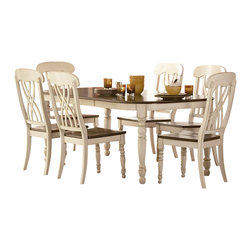 Homelegance - Homelegance Ohana 7 Piece Dining Table Set in White/Warm Cherry - Homelegance - Dining Sets - 1393W787 - Ohana Collection captures the essence of a casual country home. Its appealing two tone color pallete of antique white and warm cherry finish as well as antique black and warm cherry finish contribute to a warm country living you will love having in your home. The solid wood table top supported by large turned legs and unique chair back design with solid wood chair seat provide superior quality that will last for years to come.