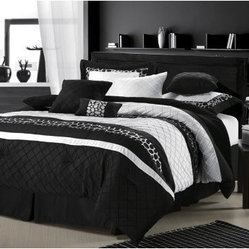 Chic Home Cheetah Embroidered Comforter Set Black Queen