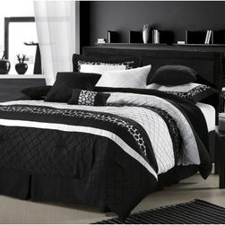 Chic Home Cheetah Embroidered Comforter Set Black Queen - Take your master suite for a walk on the wild side with the Chic Home Cheetah Embroidered Comforter Set. This sassy comforter set uses classic colors and a handsome embroidered latticework pattern to set the stage. It's the stripes of cheetah pattern that drive it wild. This comforter set is oversized, overfilled, and includes everything you need to add a little va va voom to your bedroom. Choose the size and configuration that works best for your space. The comforter is made with a soft polyester exterior and 100 GSM brushed microfiber fill. It's machine-washable in cold on the gentle cycle. Tumble dry on low and iron as needed. Available in your choice of color, size, and either an 8- or 12-piece set.Bedding Set Components:8-piece Set: Comforter + Bedskirt + 2 pillow shams + 2 square 18 x 18-inch cushion + one 20 x 20-inch cushion + one 9 x 14-inch breakfast pillow 12-piece Set: Comforter + Bedskirt + 2 pillow shams + Sheet set: 1 flat sheet, 1 fitted sheet, 2 pillowcases + 2 square 18 x 18-inch cushions + one 20 x 20-inch cushion + one 9 x 14-inch breakfast pillowDimensions:Queen Comforter: 90 x 90 inchesQueen Bedskirt: 60 x 80(2) Queen Shams: 20 x 26King Comforter: 110 x 90 inchesKing Bedskirt: 78 x 80(2) King Shams: 20 x 36