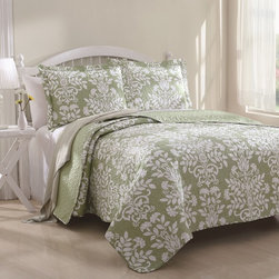 None - Danneli 3-piece Floral Quilt Set - This Danneli quilt set will turn your bedroom into a charming retreat with its a solid color background with an allover large-scale white floral print. The set is available in pastel green and pastel blue.