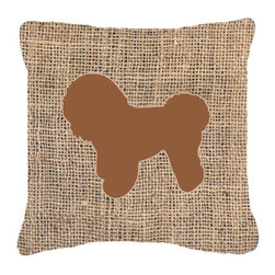 Caroline's Treasures - Bichon Frise Burlap and Brown Fabric Decorative Pillow Bb1107 - Indoor or Outdoor pillow made of a heavy weight canvas. Has the feel of Sunbrella fabric. 14 inch x 14 inch 100% Polyester Fabric pillow Sham with pillow form. This pillow is made from our new canvas type fabric can be used Indoor or outdoor. Fade resistant, stain resistant and Machine washable.