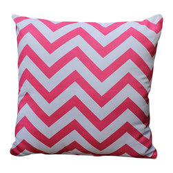 Auburn Design Studio - Zig Zag Pillow, Pink/White - Cotton Printed pillow in Blue and Pink colors.  Zig Zag print front and back. Blue and Pink colors look very pretty and elegant for summer. Zipper attached for easy removing.