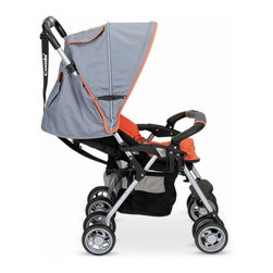 Combi - Cosmo SE Stroller - Features: -Stroller.-Fold-N- Go with 3-second fold: folds easily, compactly and self standing.-Reclinable seat with breathable air-mesh fabric, infant safety boot, footrest.-Comptaible with the shuttle infant car seat.-Convertible 5-point harness.-Removable padded guardrail and washable seat cushion add convenience.-Carrying strap, storage basket, removable cupholder for child.-Infant safety boot.-Accomodates children up to 55 lbs.-Adjustable canopy includes a storage pocket and viewing window.-Collection: Cosmo.-Distressed: No.-Product Type: Lightweight strollers.-Hardware Finish: Aluminum.-Powder Coated Finish: Yes.-Gloss Finish: Yes.-Frame Material: Plastic; Metal -Frame Material Details: Aluminum..-Fabric Type: Polyester.-Hardware Material: Aluminum.-Scratch Resistant: No.-Rust Resistant: No.-Mildew Resistant: No.-Stain Resistant: No.-Odor Resistant: No.-Weather Resistant : No.-Water Resistant: No.-Non-Toxic: Yes.-Reflective Surfaces: No.-Footrest: Yes -Adjustable Footrest: No..-Headrest: Yes.-Shoulder and Neck Support: No.-Insect Screen: No.-Rain Cover: No.-Viewing Window: Yes.-Foldable: Yes -One-hand Folding: No.-Fold Lock: Yes.-Freestanding: Yes..-Carrying Handle: Yes.-Recommended Age: Infant; Toddler.-Bicycle Compatible: No.-Car Seat Included: No.-Compatible Car Seat Brands: Combi.-Universal Car Seat Adapter Included: No.-Seating Capacity: 1.-Seat and Bassinet Included: No.-Orientation: Forward facing.-Reversible Handle: No.-Adjustable Handle Height: No.-Canopy: Yes -Collapsible Canopy: Yes.-Removable Canopy: Yes.-UV Resistant: No..-Removable Fabric: No.-Washable Fabric: Yes -Fabric Washing Method: Machine washable..-Reclining Seat: Yes.-Number of Wheels: 8.-Wheel Material: Plastic; Rubber.-Swivel Front Wheel: Yes.-Locking Wheels: Yes.-Wheel Suspension: Front.-Hand Brake: No.-Harness: Yes.-Grab Bar: Yes.-Impact Protection: No.-Storage Included: Yes -Storage Under Seat: Yes.-Parent Console: No.-Number of Cup Holders: 1..-Tray Inclu