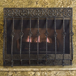 Frontgate - Orangey Cast Iron Fireplace Screen with Straight Top - Hand-forged, hand-welded cast iron construction. Made by an American artisan using Old-world European techniques. Ornate scrolled design is hand-painted. Available with or without mesh backing. Make a grand statement with our Tuscany Fireplace Screen with Straight Top. Crafted with timeless quality, this fire screen is built to be a functional and decorative accent to any fireplace for many years. . . . . Fire screen construction is backed by a lifetime warranty against any manufacturing defects.