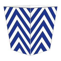 Marye-Kelley - Chevron Wastebasket, Royal Blue - Chevron Wastebasket