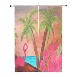 xmarc - Tropical Birds Sheer Curtains, Flamingo In Paradise - The windows have it with these sheer, decorative curtains. Romantic and flowing, these elegant chiffon window treatments finish a room with the perfect statement