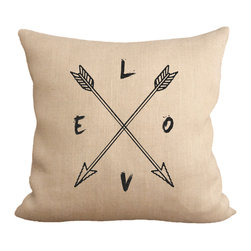"""Fiber and Water - Love Compass Pillow - No Pillow Insert. Cover Only - The Love Compass, directed by the arrows to our hearts. This hand-printed piece of art has beautiful texture from a combination of natural burlap and water-based paints. Dimensions: 19""""x19"""". Front: 100% Sultana Burlap w/ Hand-Pressed Print in Black. Back: 100% Natural Duck Cloth Canvas. French Seams & Surged Edges. Aluminum Hidden Zipper. Spot-Clean Only. As always, Made in Maine."""