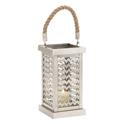 """Benzara - Beautiful Styled Stainless Steel Glass Lantern - Bring home this fascinating stainless steel glass lantern that will add charm to your interiors. This lantern is made of quality stainless steel and glass that are durable and last for years. The glass lantern features rectangle four sides with zig zag designs and amid you can place a candle. Besides, it also comprises of a rope handle that will enable you to carry the lantern with ease. This glass lantern holds stylish appeal and will grab attention of many. You can add this classy glass lantern to your living space else any place of your choice. Besides, this glass lantern can also be added to hotels, lounges, professional set ups and similar other set ups. The lantern will freshen up any space and make you win appreciations from many.Besides, this lantern can also be gifted to your near and dear ones. Get this lantern right away. Stainless Steel Glass Lantern measures 7 inches (Width) x 7 inches (D) x 22 inches (Height); Made of quality stainless steel and glass; Durable construction; Dimensions: 10""""L x 10""""W x 18""""H"""