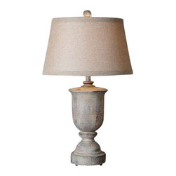 Uttermost Aurelius Solid Wood Table Lamp - Solid wood base finished in a hand painted pale silver blue with aged red accents. Solid wood base finished in a hand painted pale silver blue with aged red accents. The round tapered hardback shade is a rust beige linen fabric.
