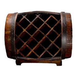 "Antique Revival - 11 Bottle Barrel Wine Rack - Asian Antique brings you some of China's oldest and traditional products used centuries ago. Features: -Rustic barrow wine rack.-Unique design.-Holds up to 11 bottles.-Solid wood construction.-Product Type: Wine Bottle Rack.-Finish: Natural.-Hardware Finish: Iron.-Distressed: Yes.-Powder Coated Finish: No.-Material: Wood.-Number of Items Included: 1.-Hardware Material: Iron.-Scratch Resistant: No.-Tarnish Resistant: No.-Mount Type: Floor.-Wine Bottle Capacity: 11.-Weather Resistant or Weatherproof: No.-Lockable: No.-Shelves Included: No.-Lighted: No.-Plug-In: No.-Removable Serving Tray Included: No.-Ice Bucket Included: No.-Wine Glass Storage Included: No.-Glasses Included: No.-Adjustable Levelers: No.-Stackable: No.-Foldable: No.-Removable Bottle Racks: No.-Commercial Grade Welding: Yes.-Bottle Size Compatibility: 750 mL.-Weight Capacity: 50 lbs.-Outdoor Use: No.-Commercial Use: Yes.-Recycled Content: Yes -Total Recycled Content (Percentage): 100%.-Post-Consumer Content (Percentage): 100%.-Remanufactured/Refurbished : No..-Eco-Friendly: No.-Product Care: Wipe with moist cloth, and apply lemon oil for shine and maintenance.-Gloss Finish: Yes.-Solid Wood Construction: Yes.-Refrigerated Cabinet: No.-Mirrored Back: No.Specifications: -UL Listed: No.-cUL Listed: No.-ISTA 3A Certified: No.-ISO 9000 Certified: No.-ISO 14000 Certified: No.Dimensions: -Overall Height - Top to Bottom: 15"".-Overall Width - Side to Side: 23"".-Overall Depth - Front to Back: 14"".-Cabinets: No.-Overall Product Weight: 26 lbs.Assembly: -Assembly Required: No.-Tools Needed: No tools necessary.-Additional Parts Required: No."