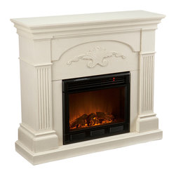 Holly & Martin - Salerno Fireplace, Ivory, Electric - Finished with a beautiful black color with gold tipping, the elegance of this fireplace is ideal for enhancing your home's cozy appeal. Fluted columns on each side and a decorative scroll applique create one beautiful home accent. All of your guests are sure to marvel at such a wonderful centerpiece. Portability and ease of assembly are just two of the reasons why our fireplace mantels are perfect for your home. Requiring no electrician or contractor for installation allows instant remodeling without the usual mess or expense. In addition to your living room or bedroom, try moving this fireplace to your dining room for romantic dinners or complement your media room with a vent less fireplace below your flat screen television. Use this great functional fireplace to make your home a more welcoming environment.