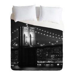 DENY Designs - Leonidas Oxby Brooklyn Bridge 125 Duvet Cover - Turn your basic, boring down comforter into the super stylish focal point of your bedroom. Our Luxe Duvet is made from a heavy-weight luxurious woven polyester with a 50% cotton/50% polyester cream bottom. It also includes a hidden zipper with interior corner ties to secure your comforter. it's comfy, fade-resistant, and custom printed for each and every customer.