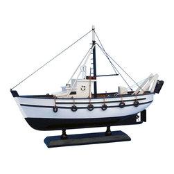 "Handcrafted Model Ships - Seaworthy 14"" - Wooden Model Fishing Boat - Not a model ship kit"