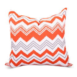 Majestic Home - Outdoor Orange Zazzle Large Pillow - Add a splash of color and a little texture to any environment with these great indoor/outdoor plush pillows by Majestic Home Goods. The Majestic Home Goods Large Pillow will add additional comfort to your living room sofa or your outdoor patio. Whether you are using them as decor throw pillows or simply for support, Majestic Home Goods Large Pillows are the perfect addition to your home. These throw pillows are woven from Outdoor Treated polyester with up to 1000 hours of U.V. protection, and filled with Super Loft recycled Polyester Fiber Fill for a comfortable but durable look. Spot clean only.
