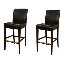 """American Heritage - American Heritage Highland Stool in Suede w/ Toast Leather - 30 Inch (Set of 2) - Perhaps one of the most comfortable Stationary stools on the market today. The 3"""" cushion sits on a woven web which will contour perfectly to your shape. The combination of toast colored bonded leather against the espresso frame will surely compliment any decor."""