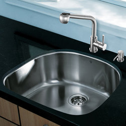 """Vigo - All in One 24"""" Undermount Stainless Steel Kitchen Sink and Faucet Set - Revitalize the look of your kitchen with a VIGO All in One Kitchen Set featuring a 24"""" Undermount kitchen sink, faucet, soap dispenser, matching bottom grid, and sink strainer.; The VG2421 single bowl sink is manufactured with 18 gauge premium 304 Series stainless steel construction with commercial grade premium satin finish; Fully undercoated and padded with a unique multi layer sound eliminating technology, which also prevents condensation.; All VIGO kitchen sinks are warranted against rust; Exterior dimensions: 23 1/2""""W x 21""""D; Interior dimensions: 21 1/2""""W x 19""""D; Depth: 9""""; Required interior cabinet space: 26""""; Kitchen sink is cUPC and NSF-61 certified by IAPMO; All mounting hardware and cutout template provided for 1/8"""" reveal or flush installation; -; The VG02019ST kitchen faucet features a dual function pull-out spray head for aerated flow or powerful spray, and is made of solid brass with a stainless steel finish.; Includes a spray face that resists mineral buildup and is easy-to-clean; High-quality ceramic disc cartridge; Retractable 360-degree swivel spout expandable up to 30""""; Single lever water and temperature control; All mounting hardware and hot/cold waterlines are included; Water pressure tested for industry standard, 2.2 GPM Flow Rate; Standard US plumbing 3/8"""" connections; Faucet height: 13 7/8''; Spout reach: 8 1/2''; Kitchen faucet is cUPC, NSF-61, and AB1953 certified by IAPMO.; Faucet is ADA Compliant; 2-hole installation with soap dispenser; Soap dispenser is solid brass with an elegant stainless steel finish and fits 1 1/2"""" opening with a 3 1/2"""" spout projection.; Matching bottom grid is chrome-plated stainless steel with vinyl feet and protective bumpers.; Sink strainer is made of durable solid brass in chrome finish; All VIGO kitchen sinks and faucets have a Limited Lifetime Warranty"""