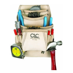 "CUSTOM LEATHERCRAFT - 179354 10Pkt Carp Nail/Too Bag - 10 Pocket carpenter's nail and tool bag premium quality, top grain leather nail and - tool bag Has 2 main pockets, 2 additional upper - pockets and 6 smaller pockets and sleeves Gussets keep front pockets open for easy access Holds a variety of nails, fasteners and tools includes a hammer loop and tape measure clip Fits tool belt to 2-3/4"" wide 179354 10PKT Carp nail/too bag color: tan"