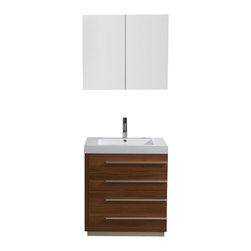 """Virtu USA - 30 Inch Modern Single Sink Bathroom Vanity - Designed with a smaller bathroom in mind, this vanity is by no means short of excellence. With a gorgeous finish and a high-gloss polymarble basin, this vanity combines both the element of design, with practicality. Featuring four large drawers on soft closing slides, the Bailey will be sure to hold all of your bathroom essentials while looking magnificent at the same time. Virtu USA has taken the initiative by changing the vanity industry and adding soft closing doors and drawers to their entire product line. By doing so, it will give their customers benefits ranging from safety, health, and the vanity's reliability. Dimensions: 29.1""""W X 19.2""""D X 32.8""""H (Tolerance: +/- 1/4""""); Counter Top: White Polymarble with Integrated Sink; Finish: Plum; Features: 4 Drawers; Soft Close Guides; Hardware: Satin Nickel; Sink(s): 29.5"""" X 19.3"""" X 6.7"""" White Polymarble Integrated Sink; Faucet: Pre-Drilled for Single Hole Faucet (Included); Assembly: Light Assembly Required; Large Cut Out in Back for Plumbing; Included: Cabinet, Sink, Mirror/Cabinet (31.5""""W X 6""""D X 27.6""""H), Faucet (7"""" Chrome Faucet PS-103); Not Included: Backsplash"""