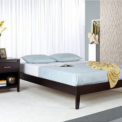 Domusindo - Tapered-Leg California King-Size Mahogany Platform Bed - Dress up the look of your bedroom decor with this California king-size platform bed. The minimalist design of this platform bed will look great with your modern decor. This bed is constructed of solid mahogany for many years of enjoyable use.